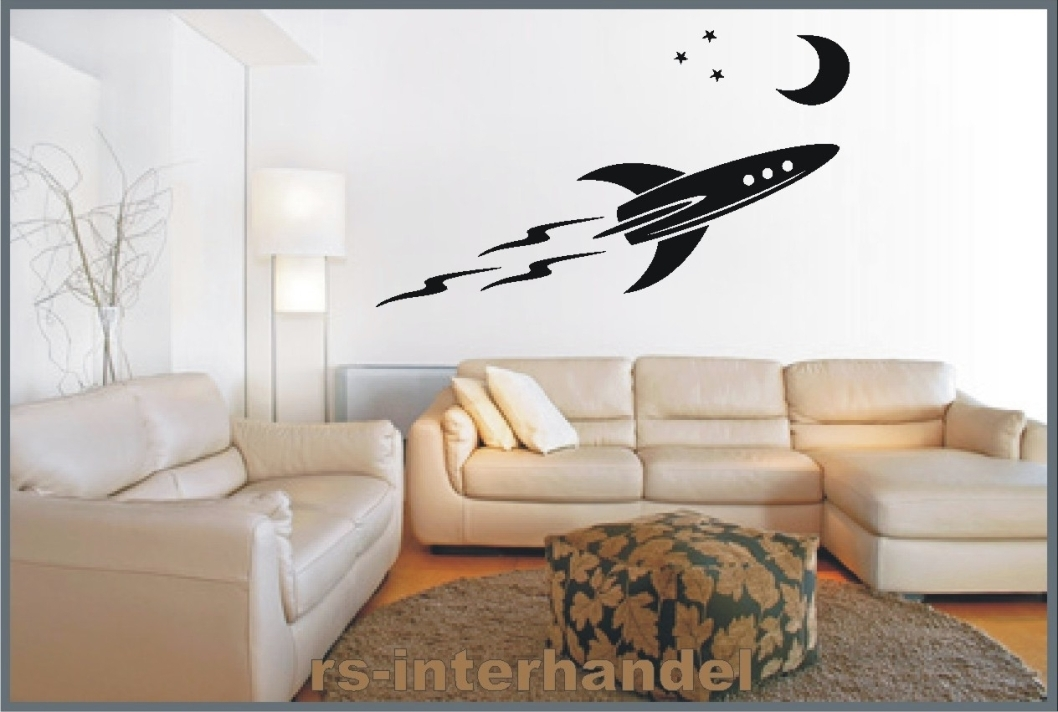 rakete mond 326 als wandtattoo kinderzimmer wandaufkleber beliebt g nstig ebay. Black Bedroom Furniture Sets. Home Design Ideas