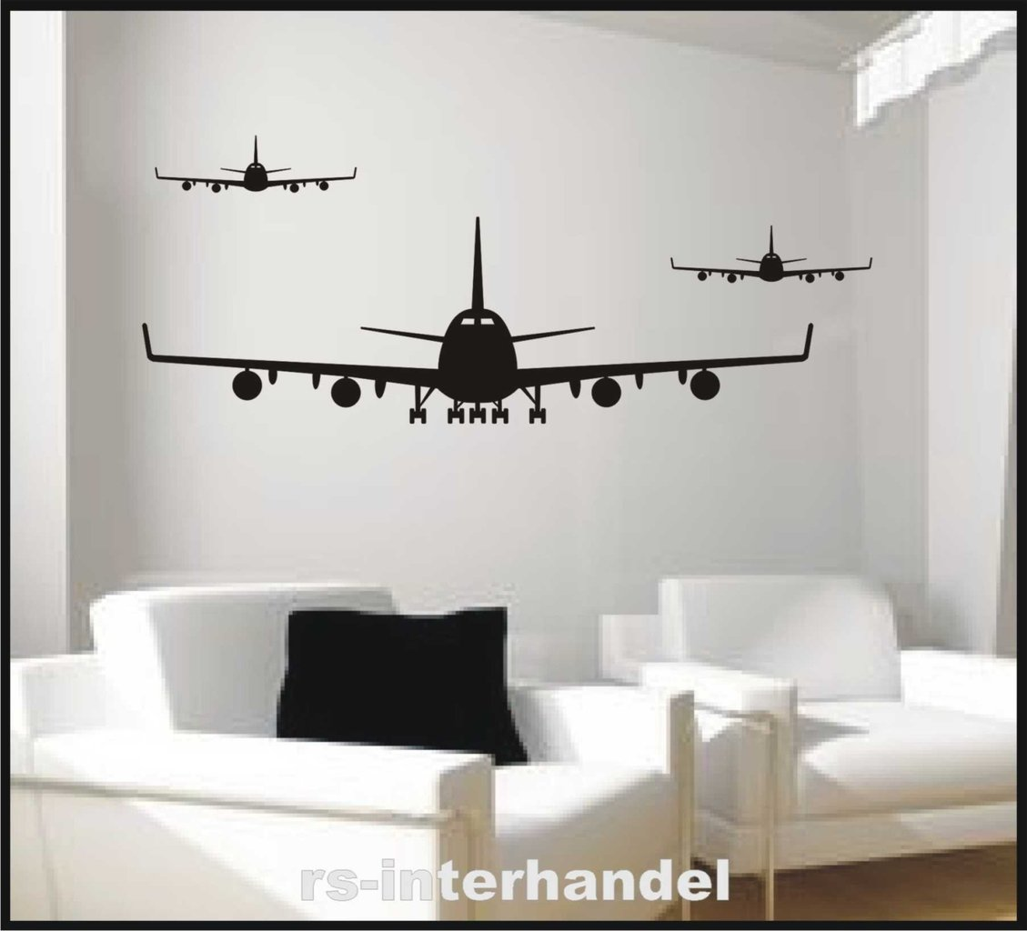 flieger flugzeug 558 wandtattoo kinderzimmer beliebter wandaufkleber im set ebay. Black Bedroom Furniture Sets. Home Design Ideas
