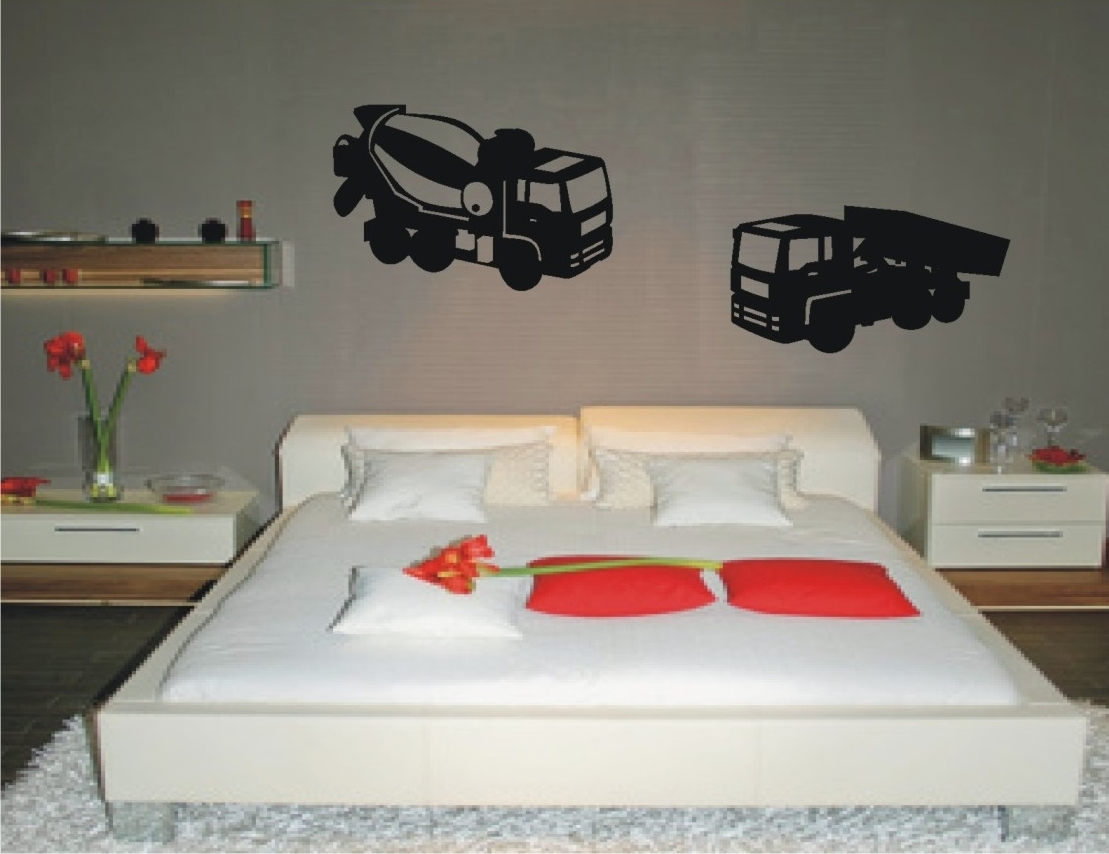 lkw set 323 als wandtattoo kinderzimmer wanddeko wandaufkleber junge m dchen ebay. Black Bedroom Furniture Sets. Home Design Ideas