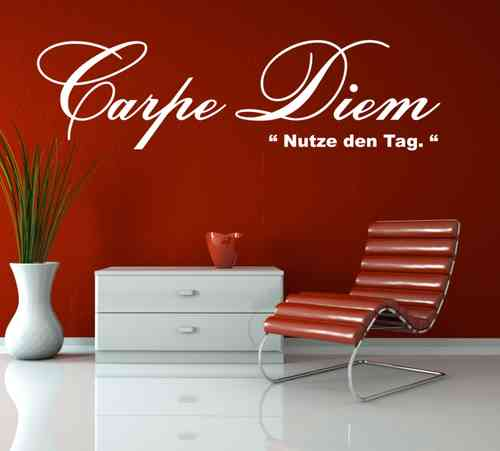 wandtattoo carpe diem nutze den tag wandtattoo und glasaufkleber. Black Bedroom Furniture Sets. Home Design Ideas