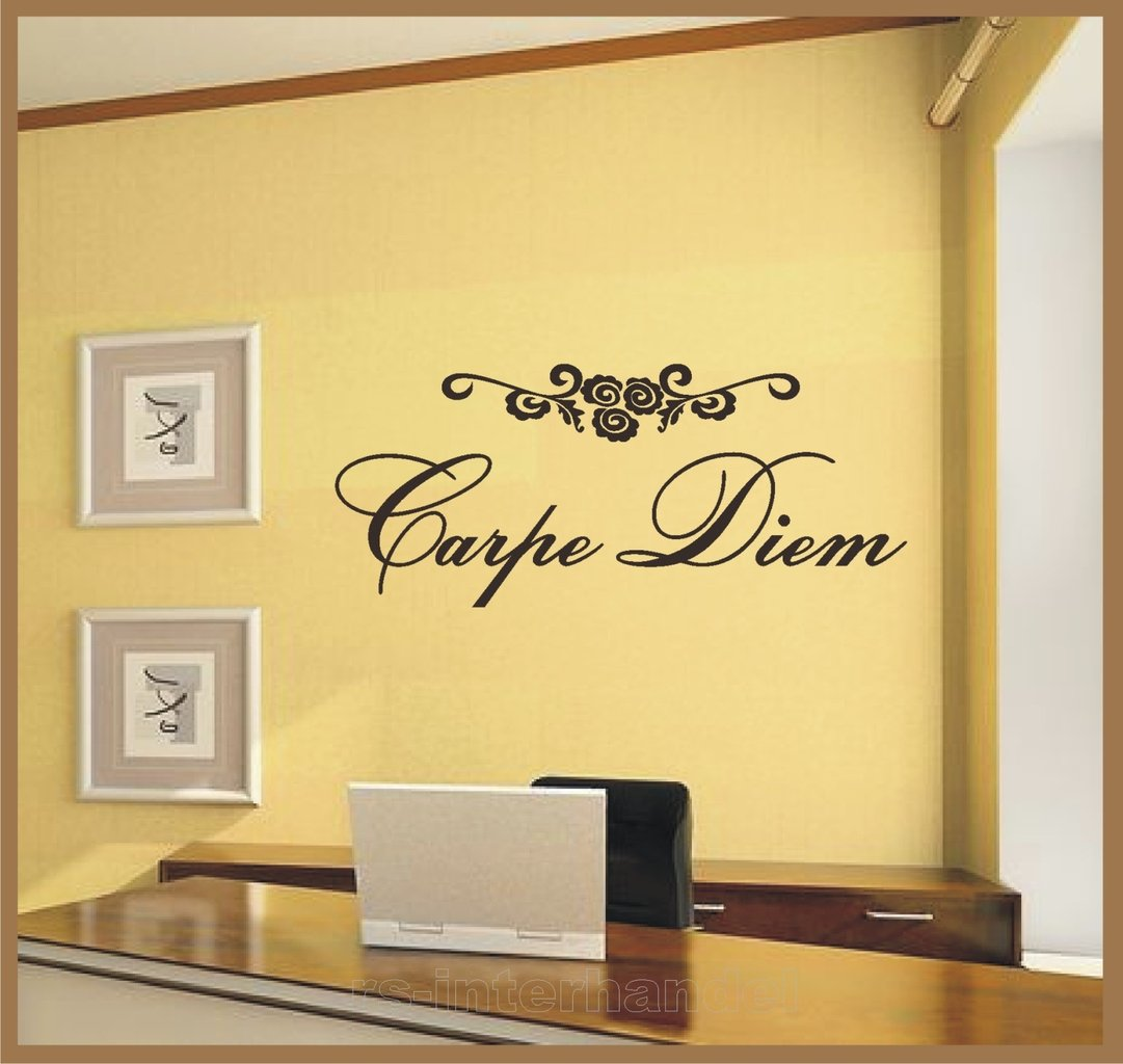 wandtattoo carpe diem incl blumenornament aufkleber fensterfolie. Black Bedroom Furniture Sets. Home Design Ideas