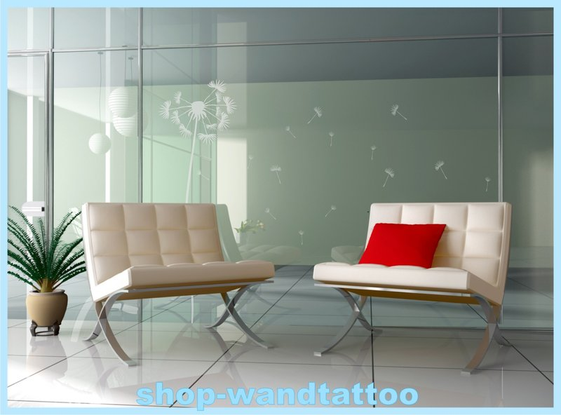 aufkleber glasdekor pusteblume fenstertattoo fensterdekoration 120cm ebay. Black Bedroom Furniture Sets. Home Design Ideas