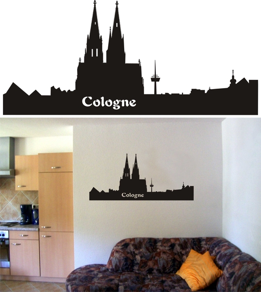 wandtattoo skyline cologne wandaufkleber wandgestaltung. Black Bedroom Furniture Sets. Home Design Ideas