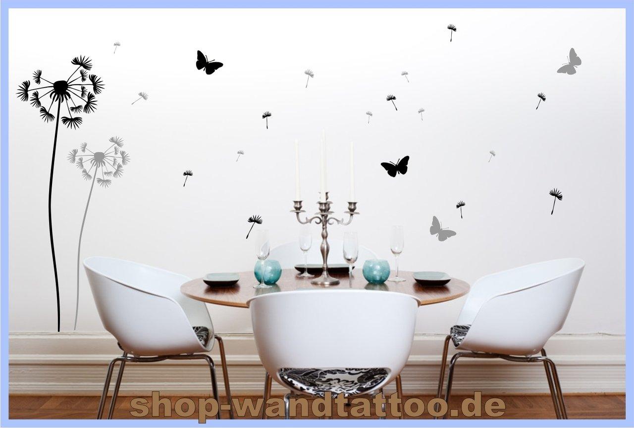 wandtattoo schwarz grau pusteblume set beliebte wandtattoo. Black Bedroom Furniture Sets. Home Design Ideas