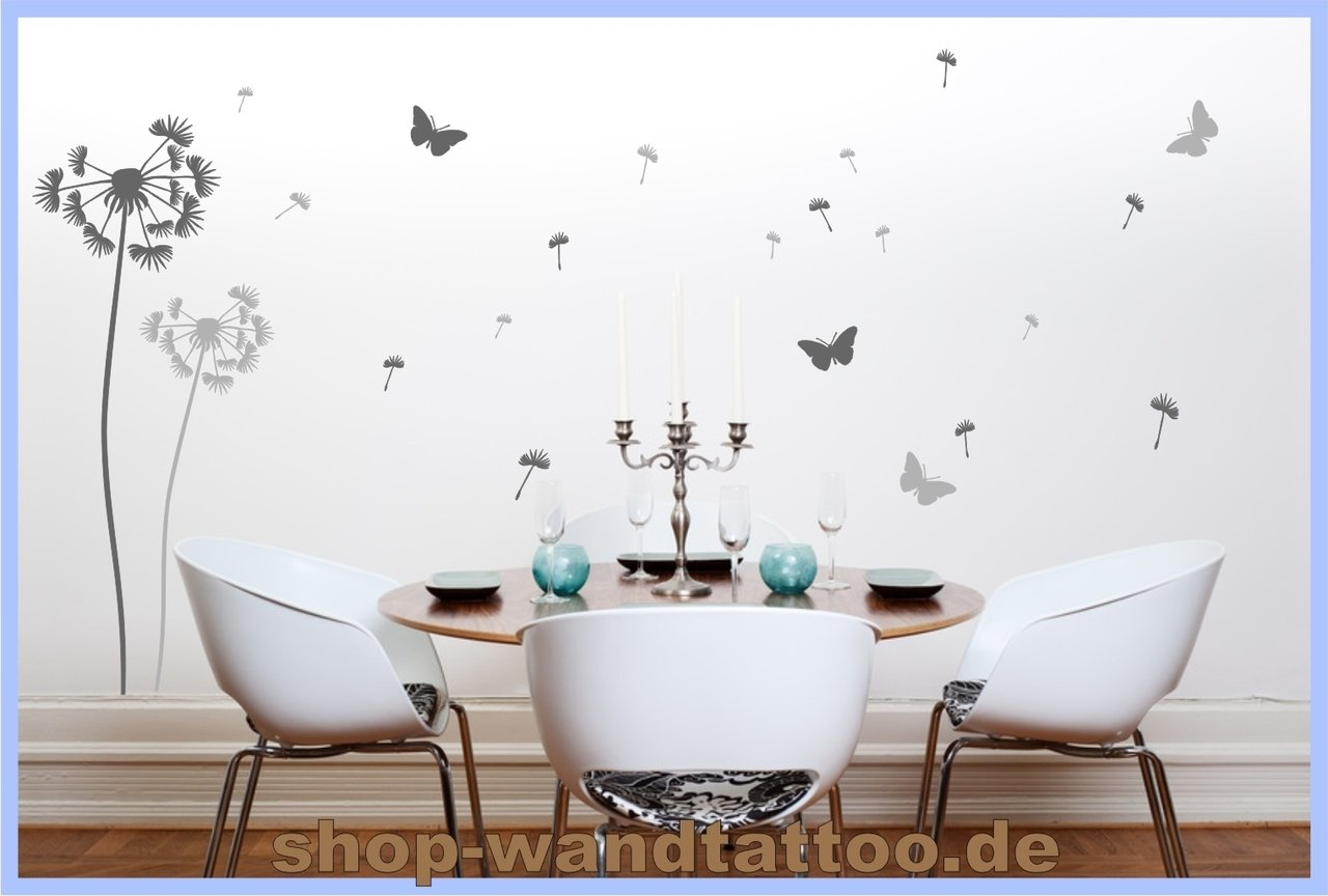 wandtattoo grau hellgrau pusteblume set beliebte. Black Bedroom Furniture Sets. Home Design Ideas
