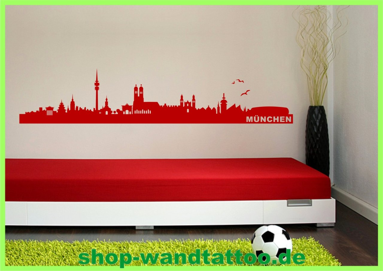 wandtattoo skyline m nchen stadt bayern aufkleber deko. Black Bedroom Furniture Sets. Home Design Ideas