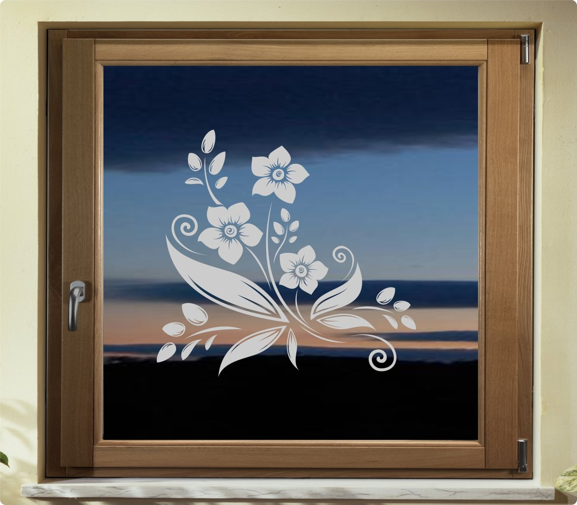fenster aufkleber glasdekor blumenornament gdt40 glas tattoo. Black Bedroom Furniture Sets. Home Design Ideas