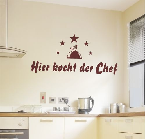 wandtattoo hier kocht der chef 569 wandtattoos f r die k che. Black Bedroom Furniture Sets. Home Design Ideas