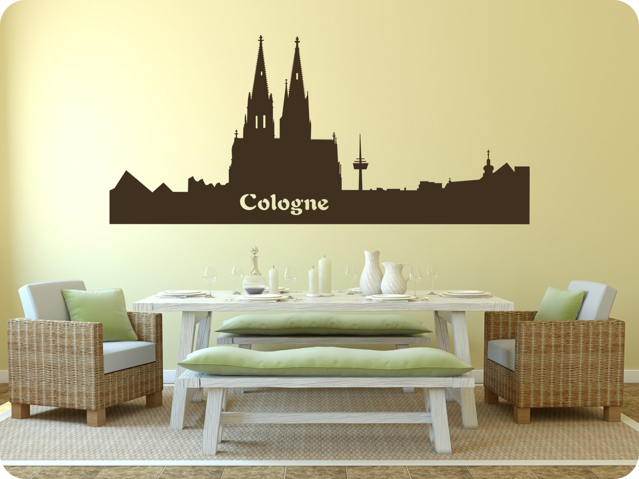 wandtattoo skyline cologne wandaufkleber und fensterfolie. Black Bedroom Furniture Sets. Home Design Ideas