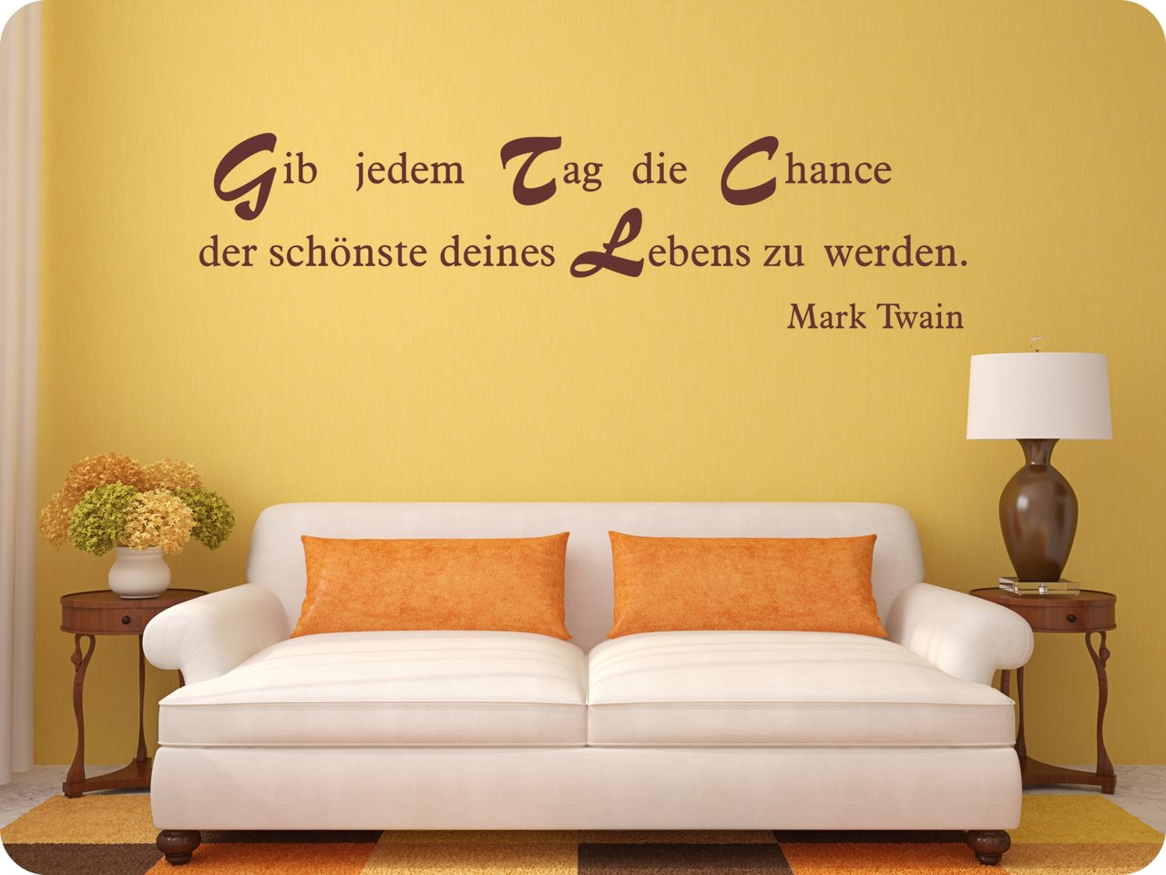 wandtattoo spruch gib jedem tag die chance wandsticker. Black Bedroom Furniture Sets. Home Design Ideas