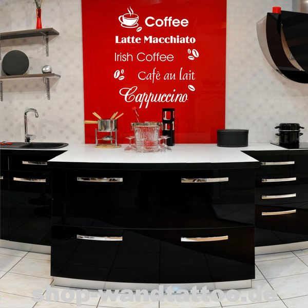 wandtattoo kaffee 137 exclusive wandtattoos f r ihre k che. Black Bedroom Furniture Sets. Home Design Ideas