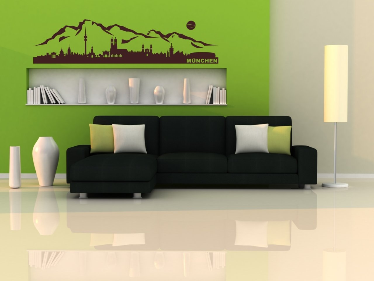 skyline m nchen berge als wandtattoo bayern aufkleber deko. Black Bedroom Furniture Sets. Home Design Ideas
