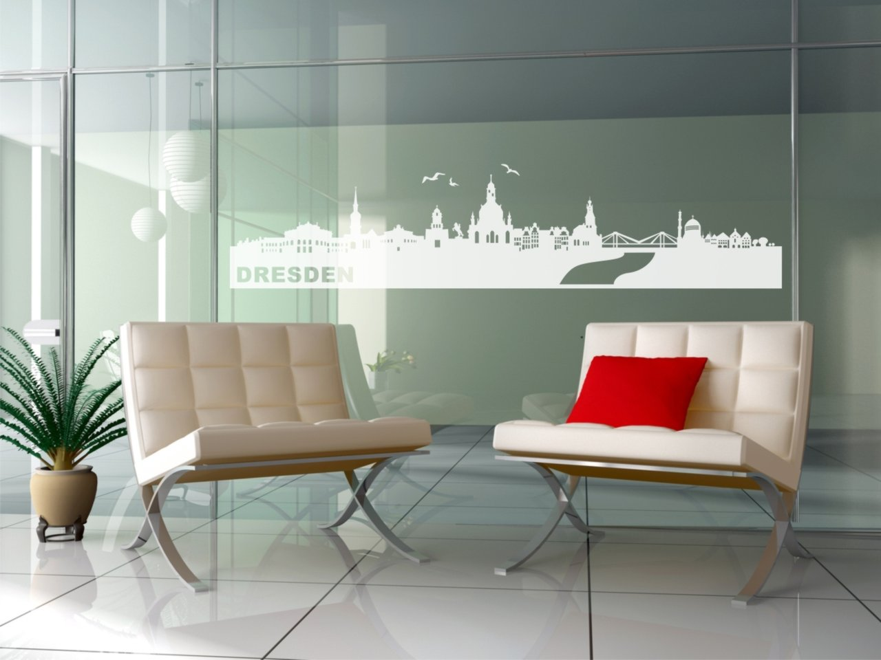 Fensterfolie Glasdekor Skyline Dresden (GD115N)